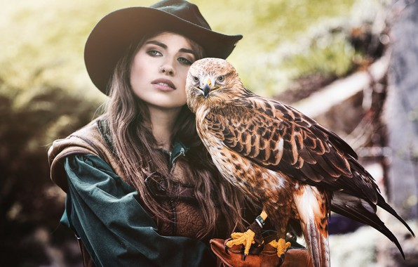 Picture look, girl, face, background, each, bird, portrait, hat, brown hair, Falcon, predatory, blurred, pet, long-haired, …
