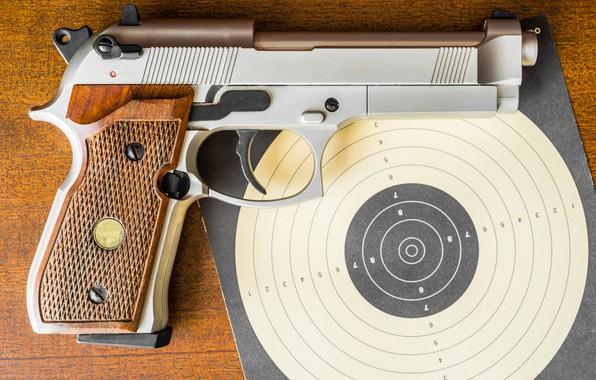 Picture close-up, gun, target