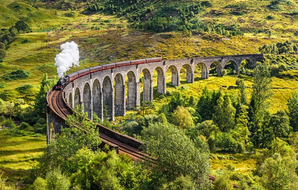 Picture The engine, Scotland, Train, Viaduct, 1901, Glenfinnan, Glenfinnan Viaduct