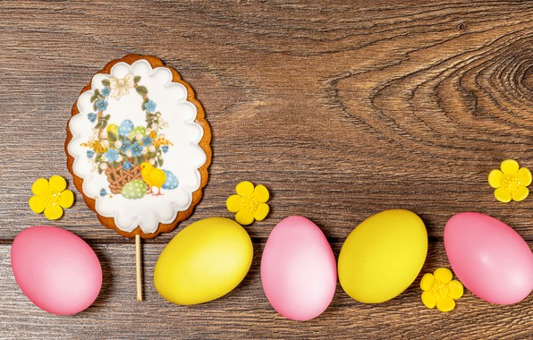 Picture background, eggs, Easter, flowers, eggs, gingerbread