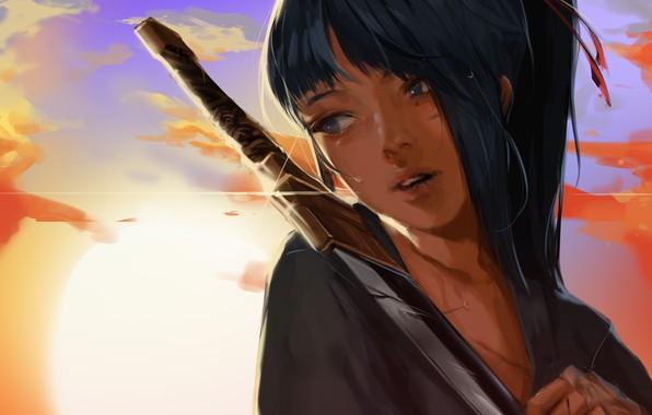 Picture girl, sword, fantasy, sky, weapon, sunset, blue eyes, clouds, ponytail, katana, mood, sadness, tears, digital …
