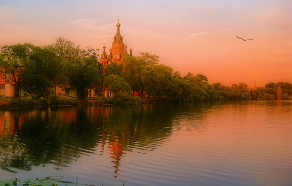 Picture trees, landscape, sunset, nature, river, the evening, temple, Bank, dome