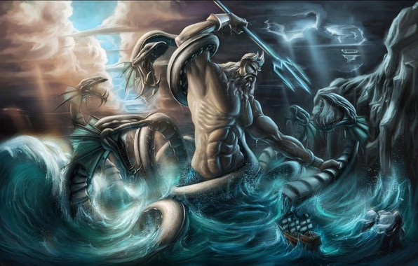 Picture snakes, zipper, crown, Trident, the God of the seas, фантастический арт, могучее телосложение, свет свозь …