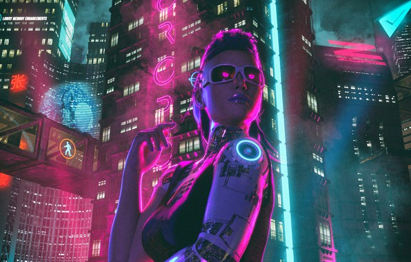 Picture Girl, Night, The city, Neon, sci-fi, Cyborg, Cyborg, Cyberpunk, Synth, Retrowave, Synthwave, New Retro Wave, …