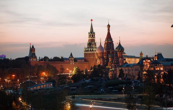 Picture Sunset, The city, Moscow, the Kremlin, Зарядье, кремль вечером