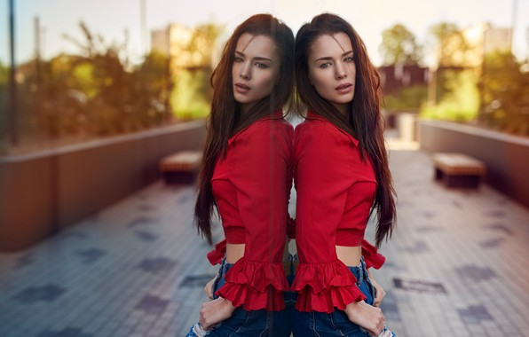 Picture look, sexy, pose, reflection, model, portrait, jeans, makeup, figure, hairstyle, blouse, brown hair, beauty, red, …