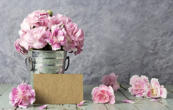 Picture flowers, petals, bucket, pink, vintage, wood, pink, flowers, beautiful, romantic