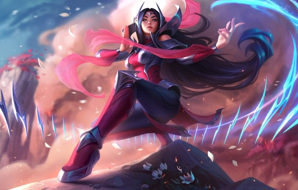 Picture Mountains, Petals, Legs, Art, Splash, League of Legends, Irelia, Ireliya, LoL, Artwork, League Of Legends, …