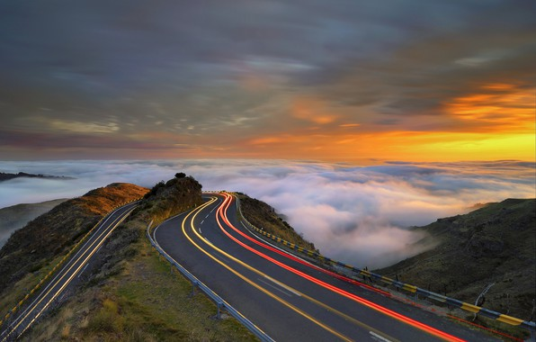 Picture road, the sky, mountains, Mountains, Rush Hour, Madeira