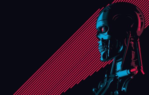 Picture Minimalism, Figure, Background, Art, Art, Robot, Terminator, Terminator, T-800, 800, The Terminator, T-800 (CSM 101)
