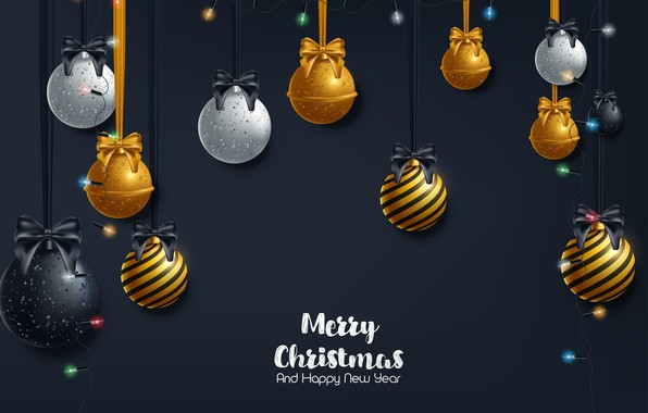 Picture decoration, gold, balls, New Year, Christmas, golden, black background, Christmas, balls, background, New Year, decoration, …