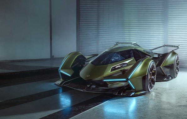 Picture Reflection, Lamborghini, Light, The concept car, Lambo, V12, Wing, Vision Gran Turismo, 2019, Lambo V12 …