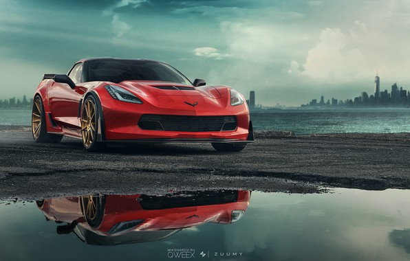 Picture Auto, Corvette, Chevrolet, Machine, Sports car, Sinister, Chevrolet Corvette C7, Mikhail Sharov, Transport & Vehicles, ...