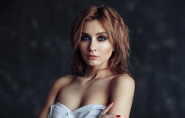 Picture look, girl, face, background, portrait, makeup, shoulders, Evgeny Bulatov, Juliana Solovyov
