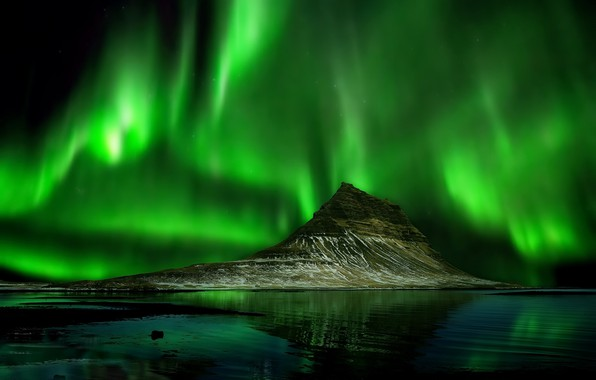 Picture sea, night, lights, mountain