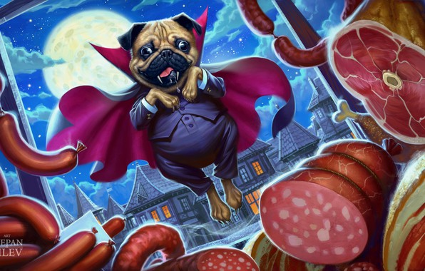 Picture Dog, The moon, Humor, Moon, Dog, Art, Art, Food, Vampire, Vampire, Meat, Illustration, Pug, Character, …