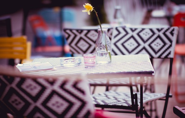 Picture flower, table, chair, ashtray