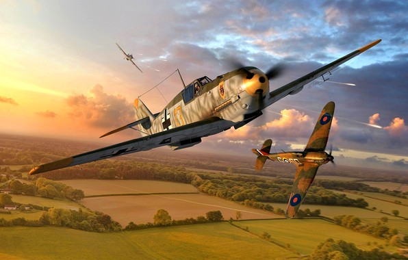 Picture Messerschmitt, Bf-109, 1940, WWII, Hawker Hurricane Mk.I, Bf.109E-4, 9./JG54