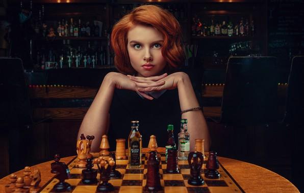 Picture look, girl, face, hands, chess, red, redhead, bottle, Janusz Żołnierczyk, Victoria Gajzler