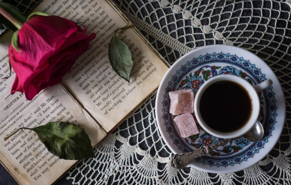 Picture rose, coffee, sweets, book