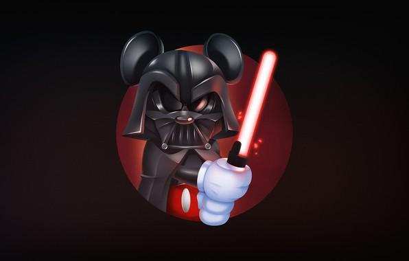 Picture Darth Vader, Mickey Mouse, Vader, Mickey, Illustration, Dark side, Harvey Lanot, Mickeyvader, by Harvey Lanot