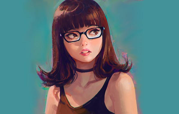 Picture face, haircut, brown hair, blue background, glasses, bangs, portrait of a girl, Ilya Kuvshinov, black …