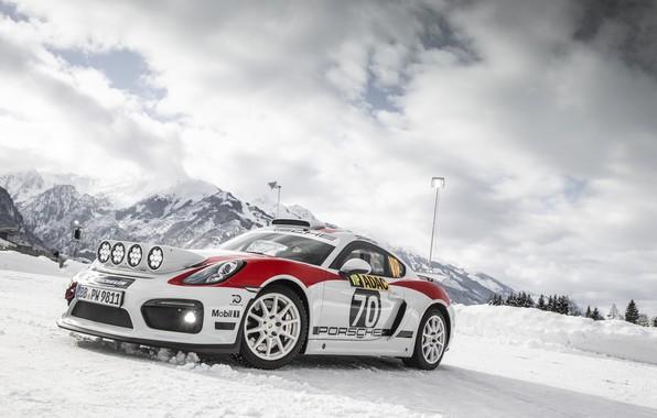 Picture machine, light, snow, mountains, lights, sports car, rally, Porsche Cayman GT4 rally