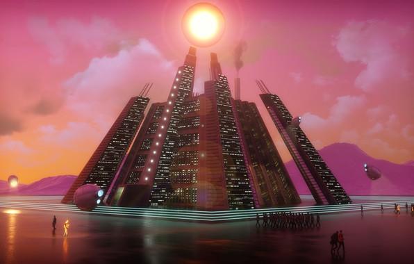 Picture colorful, fantasy, science fiction, clouds, people, sci-fi, cyberpunk, digital art, artwork, bright, building, fantasy art, …