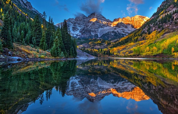 Picture autumn, forest, mountains, lake, reflection, blue, rocks, hills, shore, the slopes, tops, ate, lighting, Colorado, …