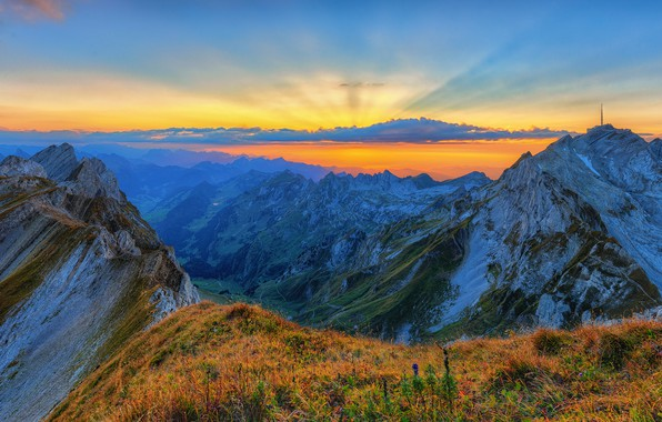 Picture the sky, sunset, mountains, height, Alps