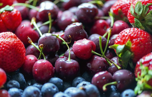 Picture drops, cherry, berries, food, harvest, blueberries, strawberry, red, a lot, cherry, fresh, ripe, cuts