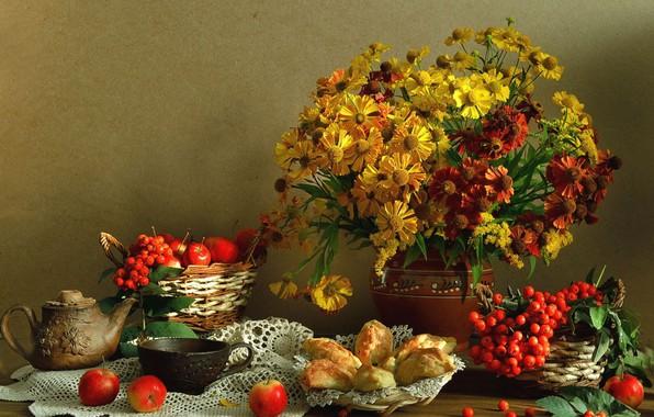 Picture still life, background, fruit, bouquet
