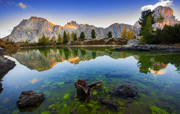 Picture trees, landscape, mountains, nature, lake, reflection, stones, Italy, The Dolomites