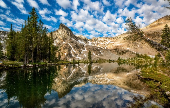 Picture clouds, morning, reflection, Twin Lake