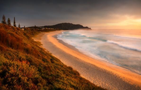 Picture ocean, sunrise, australia, boomerang beach