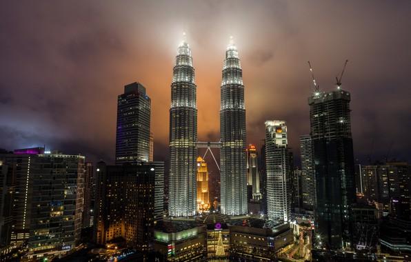 Picture night, the city, tower, Malaysia, Kuala Lumpur