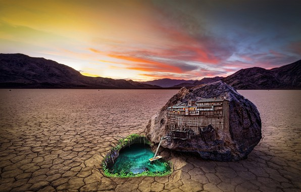 Picture summer, water, mountains, stone, home, drought, the evening, summer, stone, sunset, water, mountains, sunset, evening, …