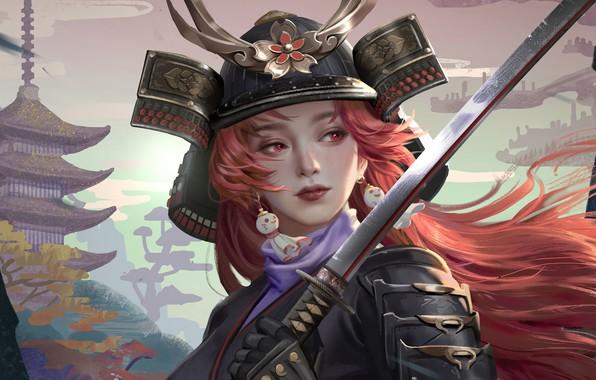 Picture face, katana, armor, earrings, Japan, samurai, helmet, pagoda, red hair, red eyes, samurai, the girl-soldier, …