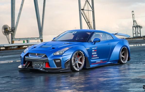 Picture Blue, Machine, Nissan, GT-R, Rendering, Nissan GT-R, Transport & Vehicles, Zoki Nanco, by Zoki Nanco, …