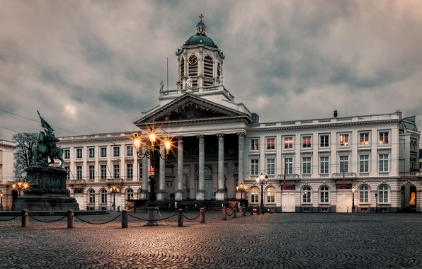 Picture the sky, clouds, clouds, lights, the evening, area, lights, monument, Belgium, Palace, Brussels