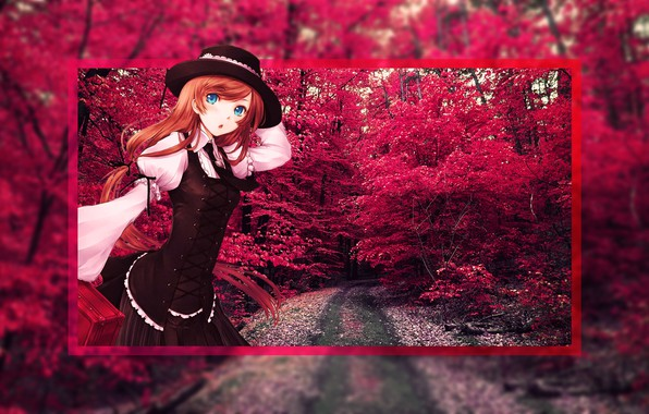 Picture Red, Trees, Anime, Anime, Anime girl