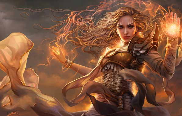 Picture girl, fantasy, game, magic, redhead, digital art, artwork, fantasy art, Magic: The Gathering, fantasy girl