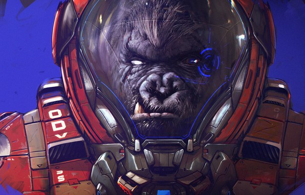 Picture King Kong, Monkey, The suit, Astronaut, Face, Astronaut, Fantasy, Art, Fiction, Characters, Cosmonaut, by Romain …