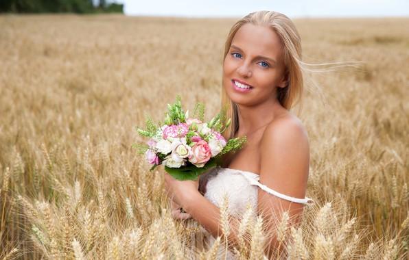 Picture field, look, flowers, model, rye, portrait, bouquet, makeup, dress, horizon, hairstyle, blonde, ears, in white, …