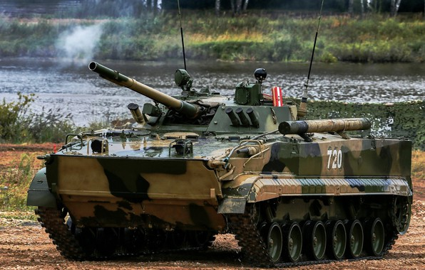 Picture armor, camouflage, exercises, pond, BMP 3, The Russian Army