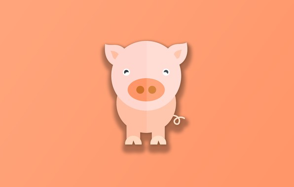Picture minimalism, animal, funny, digital art, cute, simple background, Pig