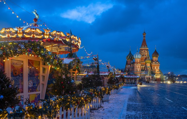 Picture winter, Moscow, New year, carousel, St. Basil's Cathedral, Russia, Red square, garland, illumination