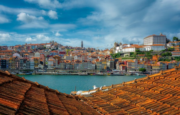 Picture roof, river, building, home, Portugal, Portugal, Porto, Port, Douro River, The River Duero