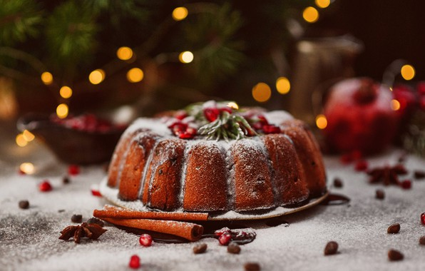 Picture branches, holiday, Christmas, spruce, sugar, needles, cakes, bokeh, cupcake, spices, powder