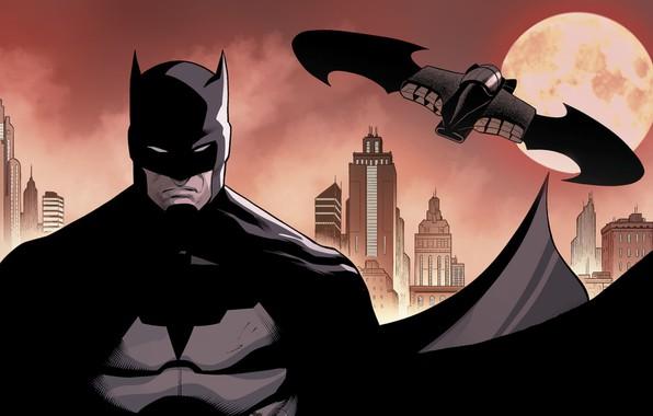 Picture The city, The moon, Batman, Costume, Building, City, Hero, Mask, Moon, Cloak, Superhero, Hero, Batman, …